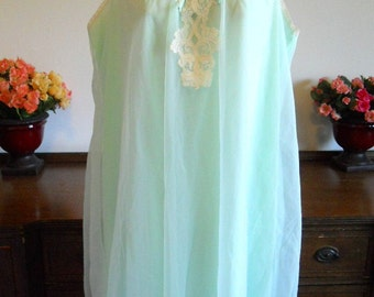 Vintage  Green Chiffon Nightgown ~  1960's French Maid Double Nylon Chiffon Nightgown  ~ Spring Green Nightgown ~ Sheer Chiffon Nightgown
