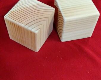 Unfinished Wood Blocks DIY Projects Yard Games 3 1/2 inch Natural Unpainted Blocks Craft Blocks Craft Supplies Set of 6