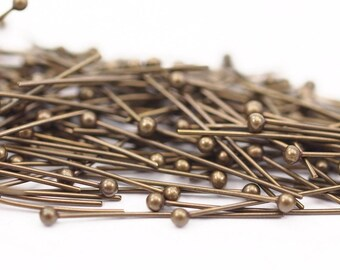 Antique Brass Pin, 100 Antique Brass Ball Head Pins, Findings (25mm) Bp-025 Brc226