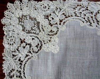 Antique handmade Brussels duchesse and Point de gaze lace handkerchief 13""