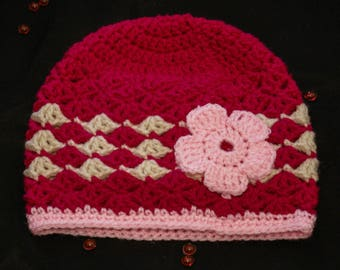 Cute baby hat size 6-12 months pink and beige