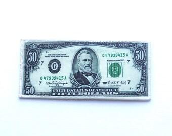 """5.8"""" 50 DOLLAR Bill iron on patch, make it rain, money maker patch, boss lady patch, back patch"""