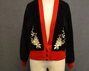 1960s Japanese Black Embroidered Velvet and Silk Jacket
