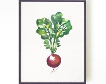 Kitchen art, Beet vegetable watercolor painting, Beet art, Vegan art, Kitchen artwork, Wall decor, Botanical print Buy 2 Get 1 Free