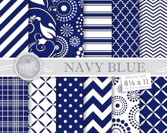 NAVY BLUE Digital Paper: Navy Blue Printable Pattern Print, Navy Blue Download, 8 1/2 x 11 Navy Blue Patterns Background Navy Blue Scrapbook
