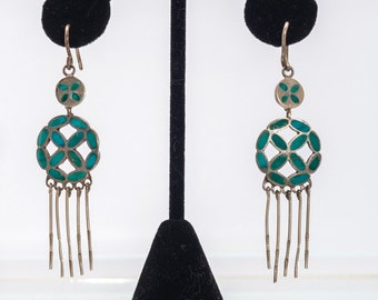 Early Zuni Turquoise Earrings - 30s/40s Hand Made Hooks - Flush Inlay