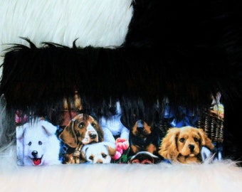 Puppy collage vegan faux fur clutch. Pet lovers friendly