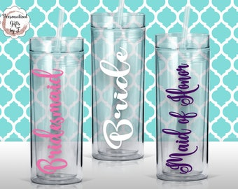Personalized Bridesmaid Tumblers Glass Set of Personalized Tumbler, Bridesmaid Gift, Bachelorette Party, Bridesmaid Glass design #103
