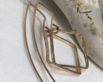 14 Karat GoldFilled Square Hoop Earrings-Bohemian Armor