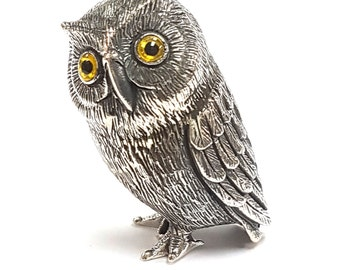 925 sterling silver Novelty detailed owl bird figurine figure hallamarked