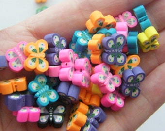 100 Polymer clay butterfly beads B105