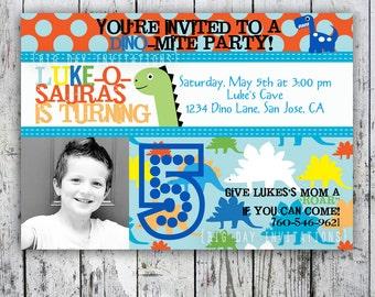 Dinosaur Birthday Invitation - Printable - Bright, Modern, Boy Invite