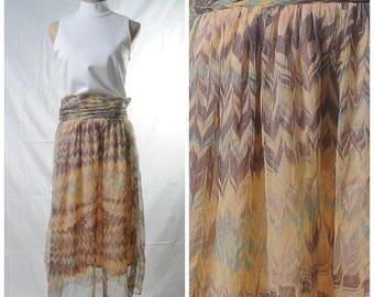 Vintage lightweight marble print midi skirt