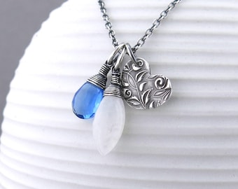 Dainty Heart Necklace Rainbow Moonstone Necklace Boho Necklace Gemstone Layering Necklace Charm Necklace Handmade Silver Jewelry - Duets