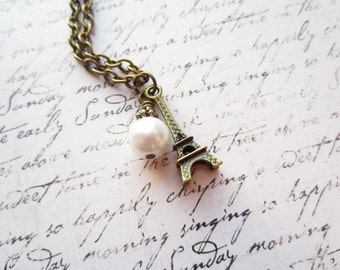 Eiffel Tower Necklace, Paris Necklace, Paris Jewelry, Vintage Bronze Necklace, Made in Sweden, Swedish Jewelry Design,
