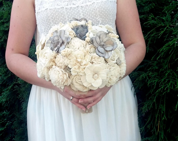 Large cream brown rustic southwestern wedding BOUQUET Ivory warm grey Flowers sola roses Burlap lace sorghum vintage elegant cottage