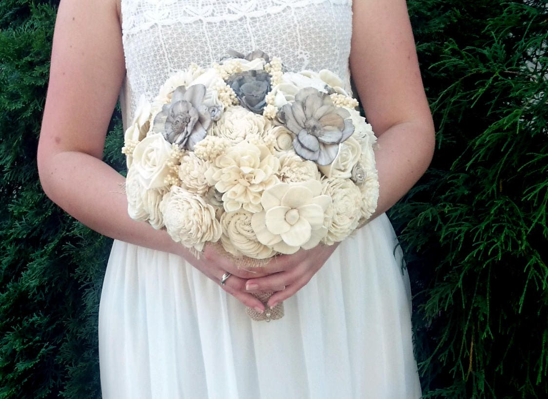 Large cream brown rustic southwestern wedding BOUQUET Ivory warm ...