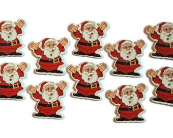 10 Pieces Santa Claus Wood Button. Christmas Wood Button.