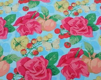 """OOP Rare Martha Negley PWMN092 Seasons Blue Rose Floral Quilting 18"""" BTHY Rowan Westminster Half Yard Quilt Sewing Cotton Fabric Retired HTF"""