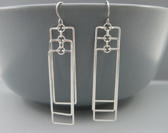 Rectangle Earrings - ladder earrings, silver architectural jewelry for art deco wedding - Cascading