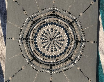 Grey and blue mandala painting