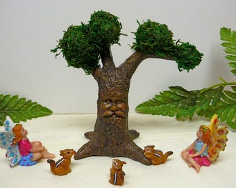Tree with Face Miniature Tree Fairy Tree Wise Old Tree,\ Storybook Tree Father Time Garden Accessory, Miniature Chipmunks OPTION