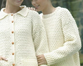 Instant Download - PDF-Lovely Aran Cardi and Jumper Crochet Pattern (AD8)