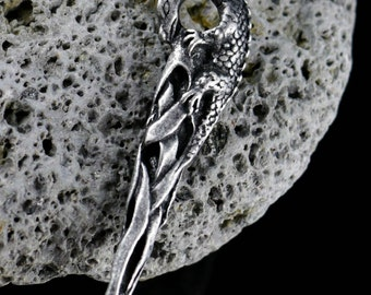 Merlin's Dragon Celtic Pewter Pendant Knotted Amulet Talisman Fantasy Celts Pagans Necklace Dragons Pagan Paganism King Arthur Merlin Tin