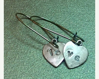 Mothers Day Sale Love. Sweet Love Heart Dangle Copper and Brass Dangle Handmade Earrings