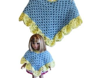 """Blue, yellow ponchos, AG doll poncho, girls poncho, 18"""" doll poncho, AG doll clothes, 18"""" doll clothes, AG poncho, child poncho, 18"""" poncho"""