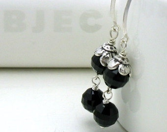 Black Crystal Silver  Floral Minimalist Dangle Drop Earrings      For Her Under 60, Free US Shipping Gift Wrap