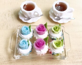 Miniature Cupcakes with Tea Set,Miniature Cake,Miniature Coffee Set,Miniature Food,Miniature Tea Set,Dolls and Miniature,Dollhouse