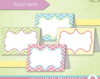 Chevron Rainbow Food Tents • PRINTABLE Birthday Baby Shower • by The Occasional Day