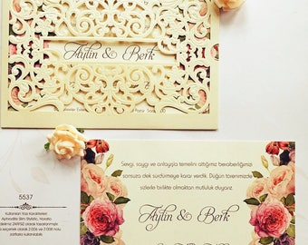Floral laser cut golden personalised wedding invitation 5537