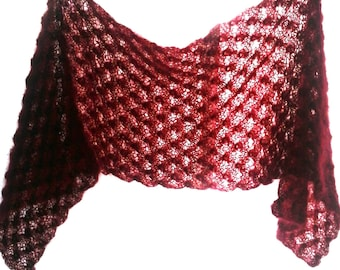 Red kid mohair lace stole