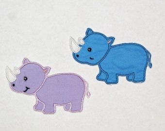 Embroidered Iron On Applique- Rhino