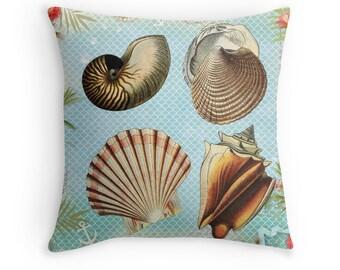 Beach Pillow, Sea Shells Decor, Seashells Cushion, Beach Decor, Sea Theme, Aquatic Throw Pillow, 16x16 Pillow, Cushion Cover