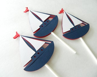 24 Sailboat Cupcake Toppers Nautical Cupcake Toppers Nautical Baby Shower Nautical First Birthday • Set of 24