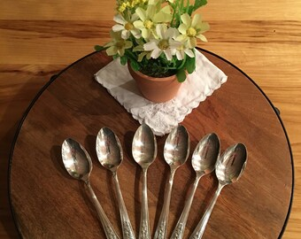 Vintage Wm. A. Rogers Silverplate A1 Teaspoons, Rosalie Pattern (Set of 6)