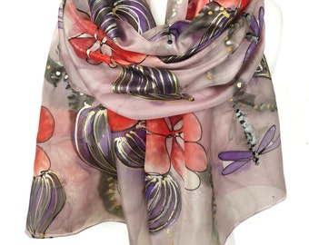 Hand Painted Silk Floral Scarf. Anniversary Birthday Gift for Her. Bridal Gift. Genuine Art. Authentic Gift for Her. 18x71in MADE to ORDER