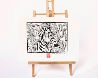 LINOCUT PRINT- zebra- artistic print