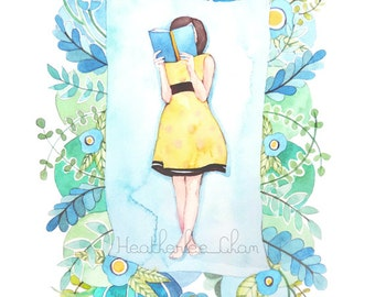 The Reader in Blue, Green, and Yellow - Watercolor Print