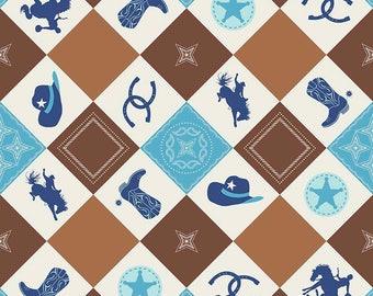 Cowboy Fabric/ Riley Blake Fabric/ Cowboy Main/ Cowboy Nursery/ Cowboy Theme/ Fabric by the Yard/ Western Fabric/ Baby Boy Fabric