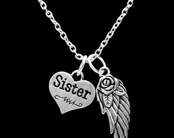 Guardian Angel Sister Necklace, Wing I Miss You In Memory Heaven In My Heart Necklace