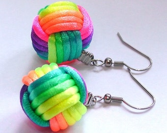 A Pair of Earrings by Monkey Fist Knot - Rainbow Color