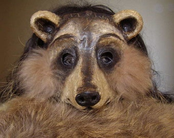 Raccoon mask Masquerade mask Carnival mask Animal mask Paper mache mask Scary mask Adult mask Face mask