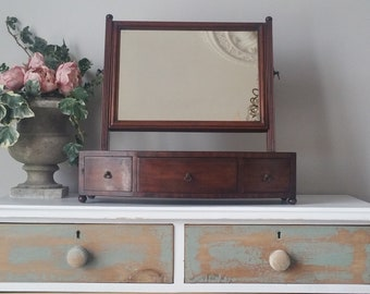 Antique Georgian Vintage Dressing Table Mirror with Drawers
