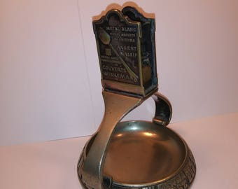 Vintage Advertising Ashtray With Match Holder Wiskemann Silverware Makers- 1930's