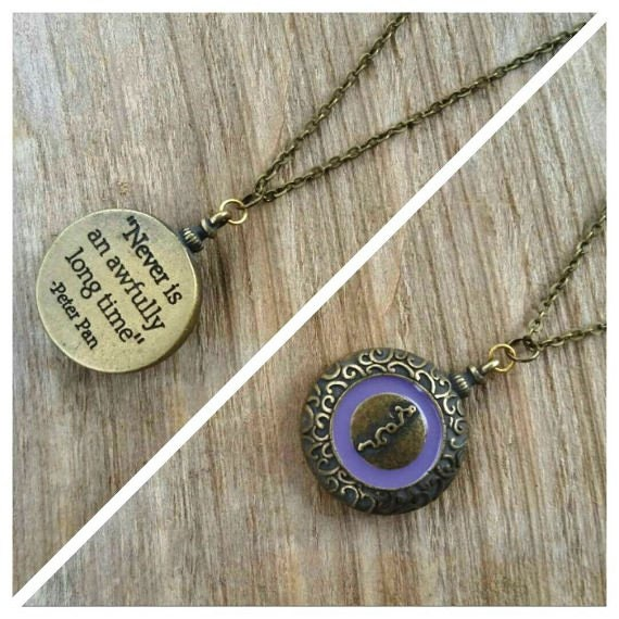 """SALE Peter Pan Quote Necklace, """"Never is an Awfully Long Time,"""" Peter Pan Jewelry, Peter Pan Clock, Big Ben, Two Sided Necklace, Neverland"""