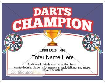 Darts Certificate, Darts award template, darts, dart board, darts holder, download, darts certificate template, dart tournament, darts lover